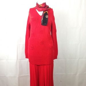 Ann Wi Vintage Red Knit Sweater Maxi Skirt Dress S
